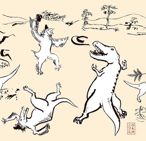 タルボサウルスと相撲を取るデイノケイルス(画像提供:「恐竜博2019」事務局、画像は手ぬぐいの一部)