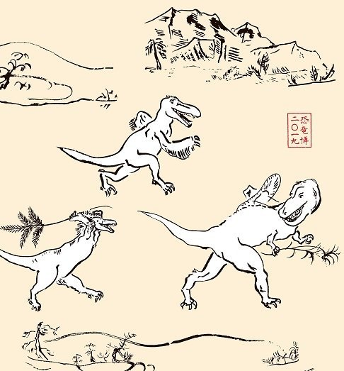 ティラノサウルスと追いかけっこするデイノニクス(画像提供:「恐竜博2019」事務局、画像は手ぬぐいの一部)