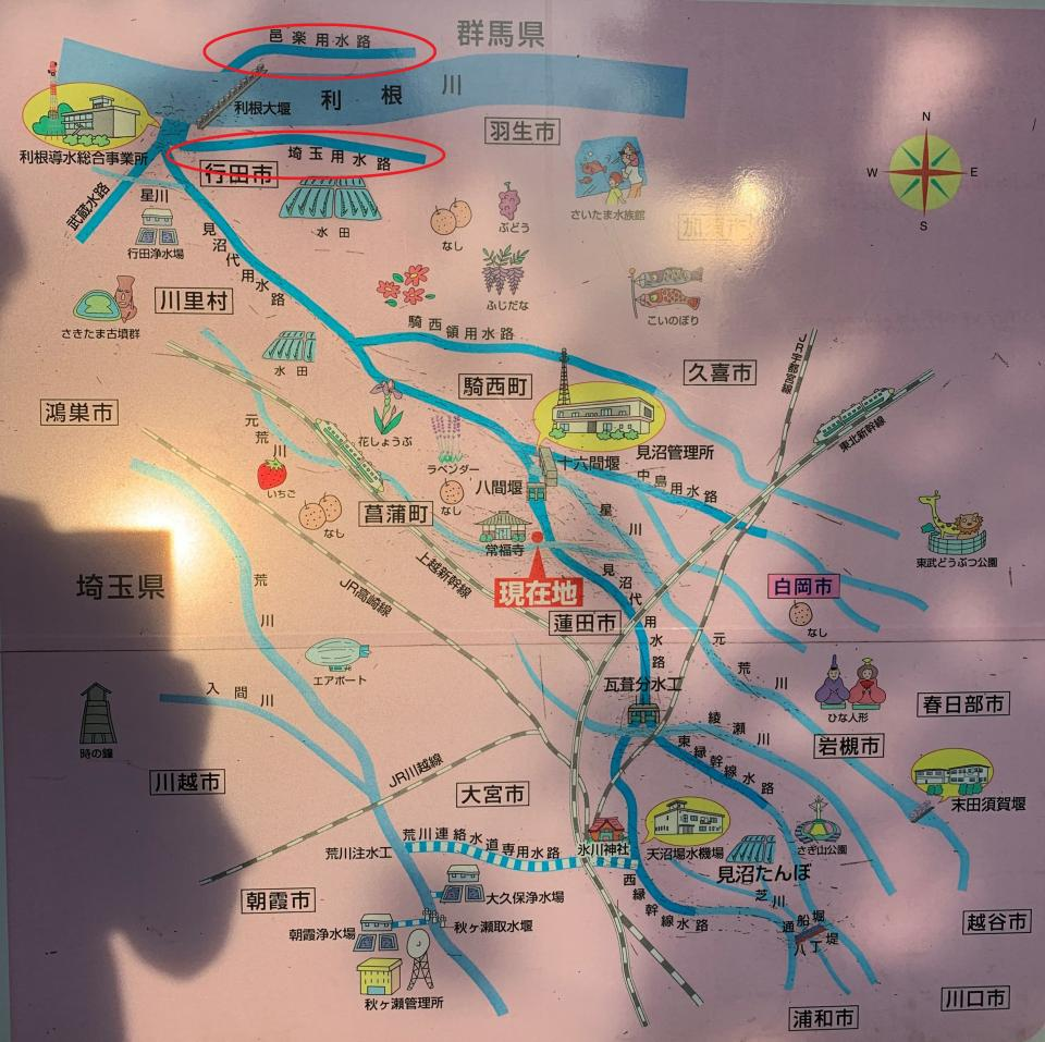 柴山伏越にあった地図。赤丸で囲んだのが、埼玉用水路と邑楽用水路
