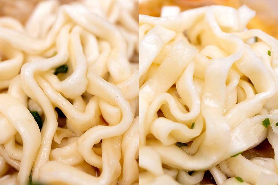 麺の違い(左:サンポー食品、右:東洋水産)