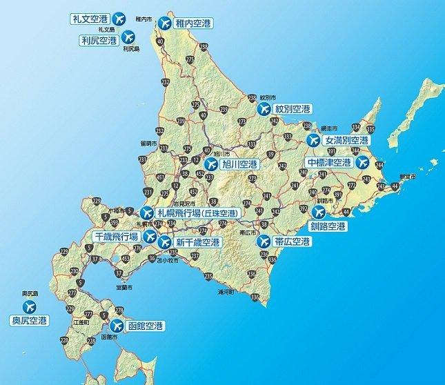 道内の空港位置図(国土交通省 北海道開発局の公式サイトより)