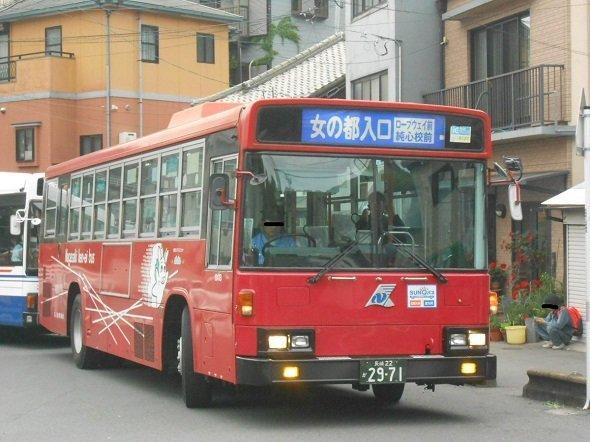 長崎県営バス「女の都入口」行き。shapetaku22thさん(@zitenshatarou)撮影