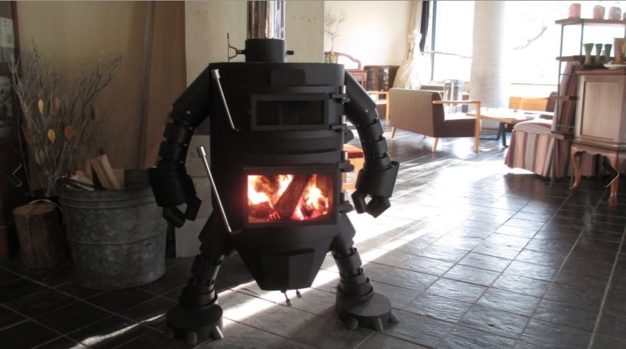 ロボット型薪ストーブ(小磯鉄工ウェブサイトより)