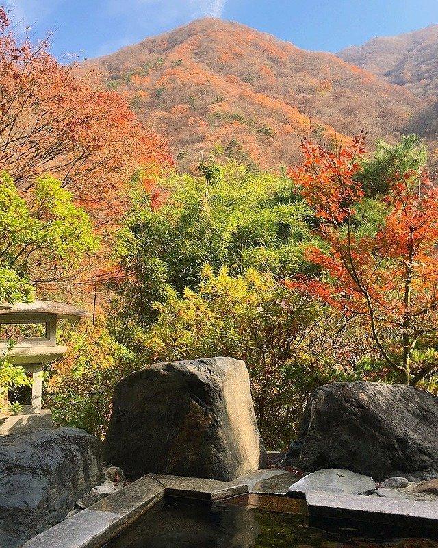 庭園と山々を眺望できる混浴露天風呂「岩鏡」