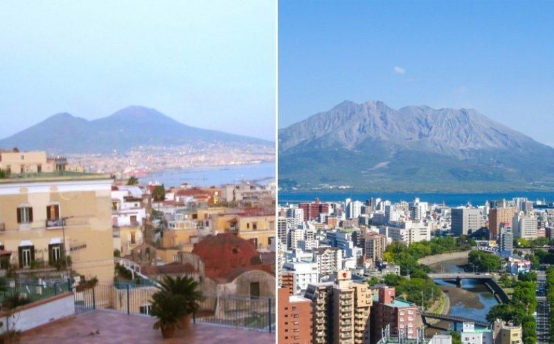 似ている(写真左がナポリ、右が鹿児島)