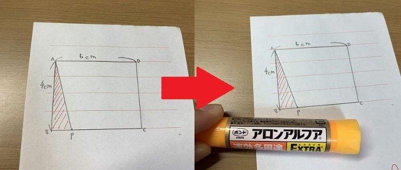 メモ用紙には綺麗な長方形。そしてアロンアルフアが用意された...(画像は一部編集部加工)