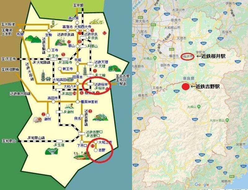 実際はもっと奈良県の左上に路線は集中している