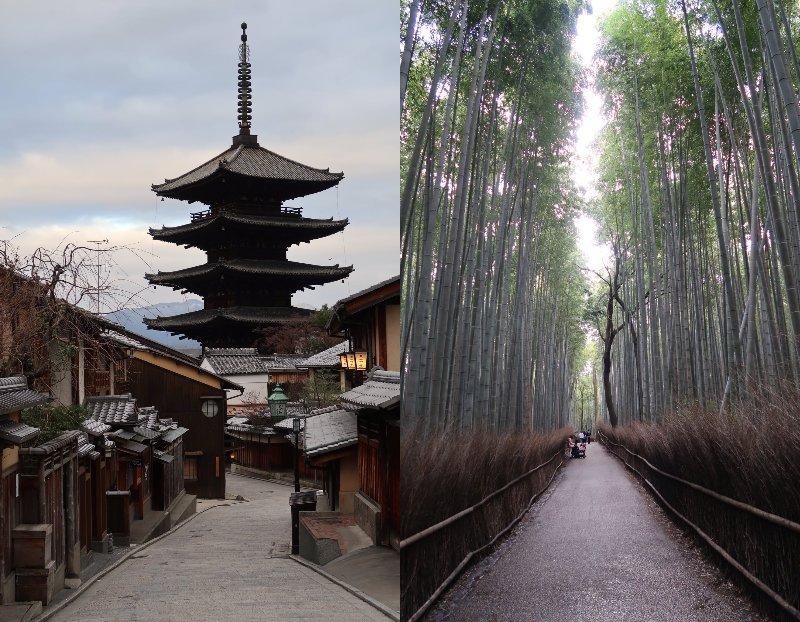左は二寧坂、右は嵐山の竹林(画像はIsamu HIROSE(@BubbleHeadJP)さんから)