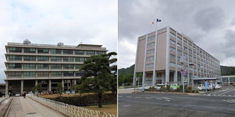 左が島根県庁(flickrよりhayashiyutakaさん撮影)、右が鳥取県庁(C)Google