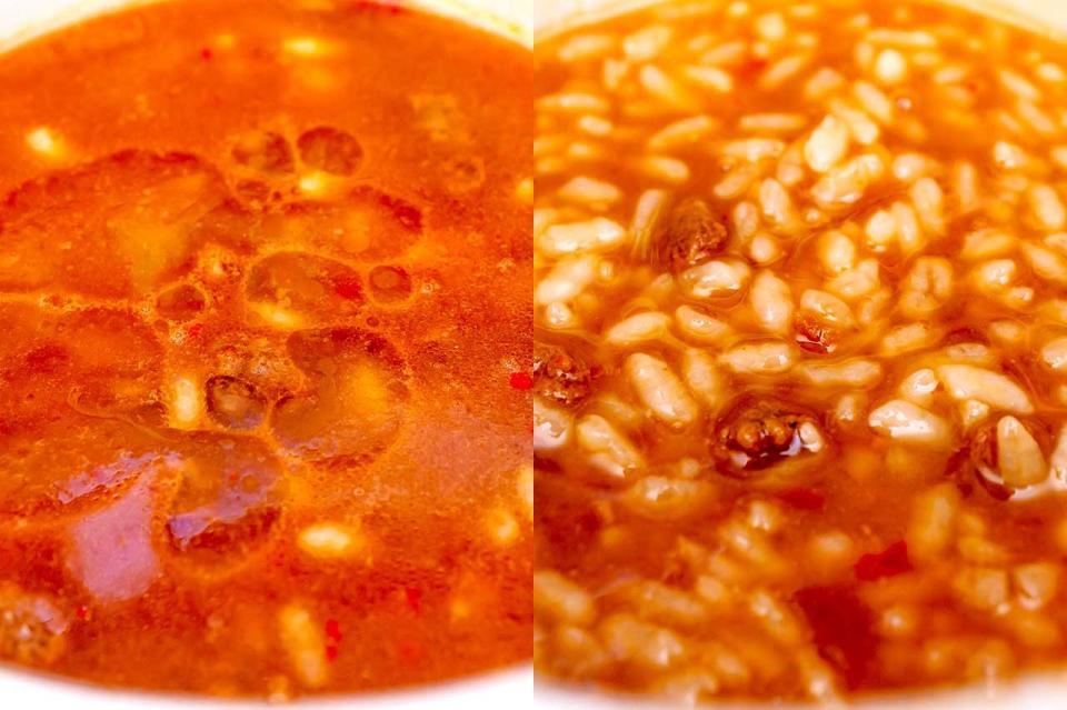 (左)湯戻し5分直後、(右)右時間経過とともにスープを吸って雑炊らしくなる