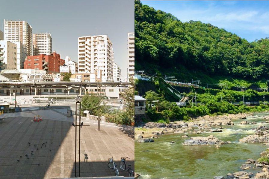 左はJR三鷹駅、右はJR定光寺駅付近(臨B詰所@RinBTsumeSyoさん提供)