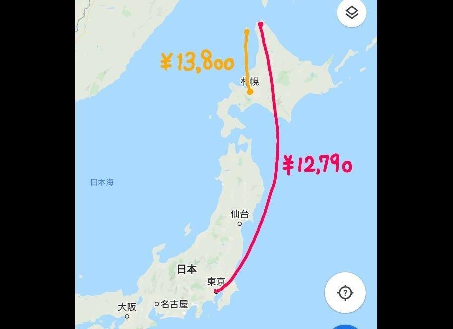 同じ北海道なのに...(画像は鳥辺茜さん提供、Googleマップを一部加工)