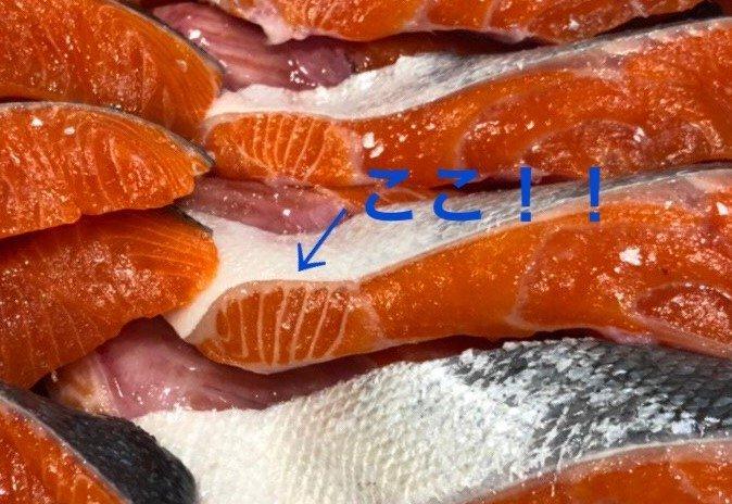 「ここ」は鮭の「大トロ」だそう(画像は王子サーモン【公式】(@Oji_Salmon)から)