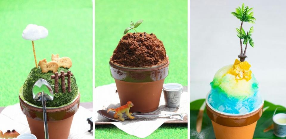 藤枝市陶芸センターが販売しているかき氷。左から「牧場(抹茶味)」「大地(チョコ味)」「常夏(ブルーハワイ&マンゴー味)」で、8月30日まで提供