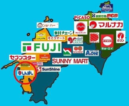 なかには倒産しているスーパーも(iqaring(@ikaring63036919)さんから、赤丸は編集部)