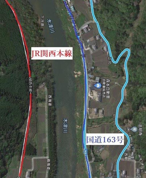 JR関西本線・笠置~大河原駅周辺(京都)(C)Google