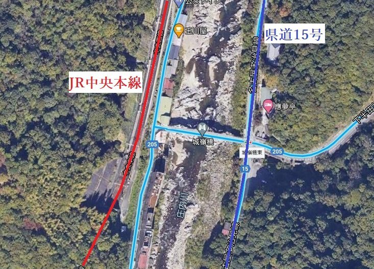 JR中央本線・定光寺駅周辺(愛知)(C)Google