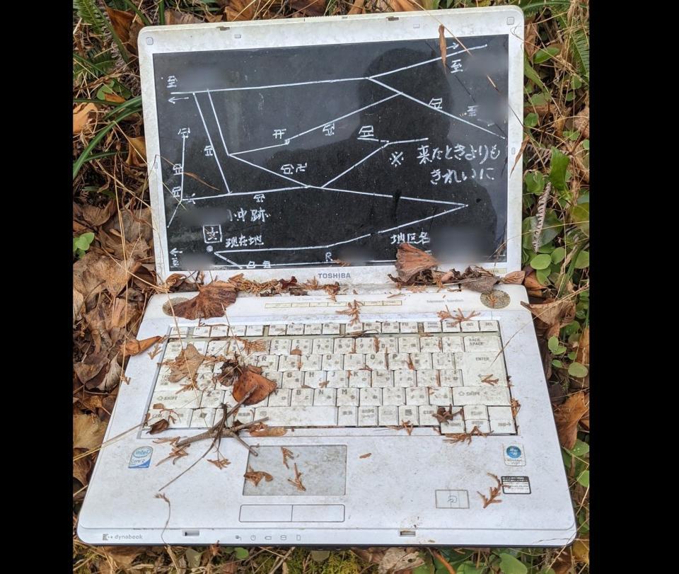 液晶に地図が書かれている(画像は「かけうどん(小)」@hiyakakeudonmanさん提供、編集部で一部トリミング)